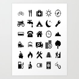 Extreme White Icon model: Traveler emoticon help for travel t-shirt Art Print