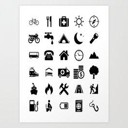 Extreme White Icon model: Traveler emoticon help for travel t-shirt Art Print