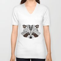 raccoon V-neck T-shirts featuring raccoon! by Manoou