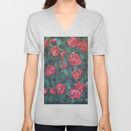 Camellias, lips and berries. Unisex V-Neck