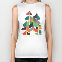 cabin Biker Tanks featuring Cabin in the woods by Picomodi