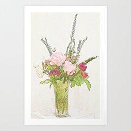 Peony & Friends Art Print
