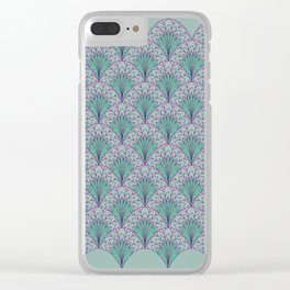 Shell Medallion green and purple layers Clear iPhone Case