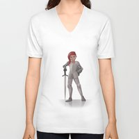 knight V-neck T-shirts featuring Knight by Abbi Laura