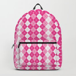 Argyle Design in Pink and White Backpack