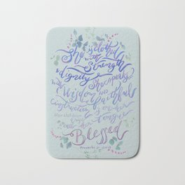 She is Clothed in Strength - Proverbs 31 for moms - light sage Bath Mat
