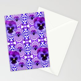 DECORATIVE OPTICAL PURPLE PANSIES GEOMETRIC ART Stationery Cards