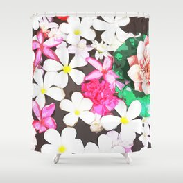 White and Pink Flowers Shower Curtain