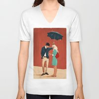broadway V-neck T-shirts featuring Broadway Bus Stop by Stephan Parylak