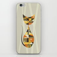 mid century iPhone & iPod Skins featuring Mid Century Cat by MidPark Prints