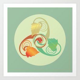 Three Hawthorn Leaves Art Print
