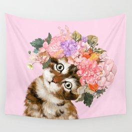 Pink cat wall tapestries society6 baby cat with flower crown wall tapestry mightylinksfo