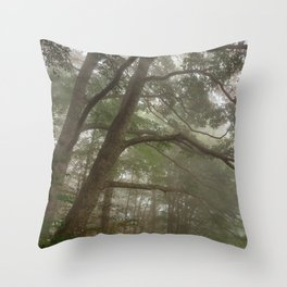 Misty Forest Branchscape Throw Pillow