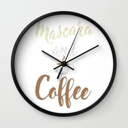 Mascara And Coffee Caffeine Beverages Beans Brewer Gift Wall Clock