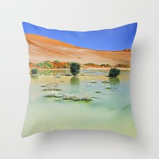 Water in the Namib desert after rain season, Namibia II Throw Pillow