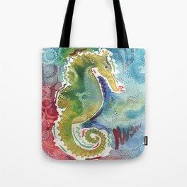 Watercolor sea horse painting Tote Bag
