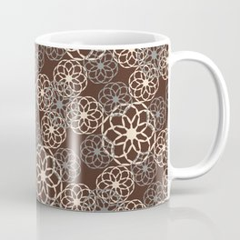 Brown and Silver Floral Pattern Coffee Mug