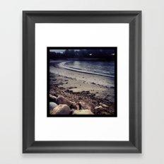 Storm, Black and White Beach Framed Art Print