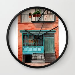 New York watercolor house front Wall Clock