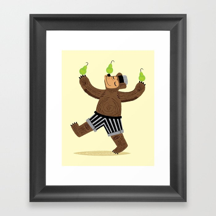 A Bear With Pears Framed Art Print