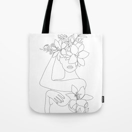 Minimal Line Art Woman with Flowers VI Tote Bag