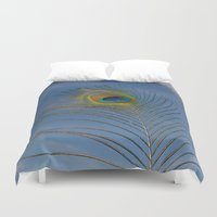 peacock feather Duvet Covers featuring Peacock feather by PICSL8