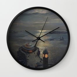 Plymouth Sound by Moonlight and Searchlight coastal nautical landscape painting by Julius Olsson Wall Clock