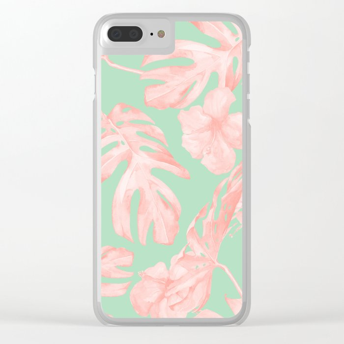 Tropical Palm Leaves Hibiscus Pink Mint Green Clear iPhone Case