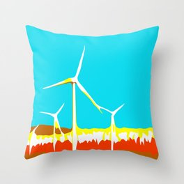 wind turbine in the desert with blue sky Throw Pillow