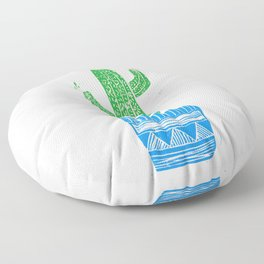 Linocut Cactus #2 in a pot Floor Pillow