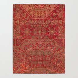 Bohemian Medallion II // 15th Century Old Distressed Red Green Colorful Ornate Accent Rug Pattern Poster