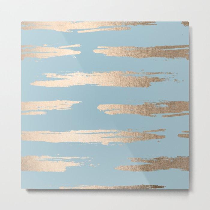 Abstract Paint Stripes Gold Tropical Ocean Sea Blue Metal Print