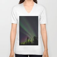 northern lights V-neck T-shirts featuring Northern Lights 3 by Pamela Barron