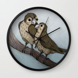Love sparrows Wall Clock