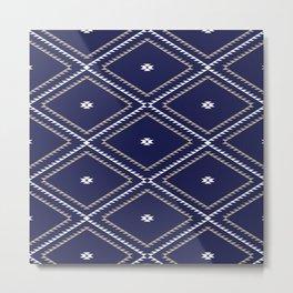 Navajo Pattern - Tan / White / Navy Metal Print