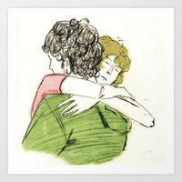 les mis Art Prints featuring ExR Hug les mis by Pruoviare