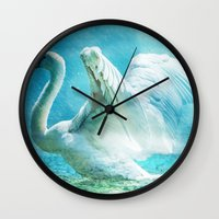 swan Wall Clocks featuring Swan by WonderfulDreamPicture