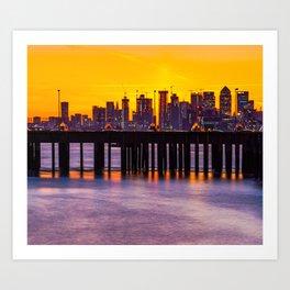 Sunset at Canary Wharf Art Print