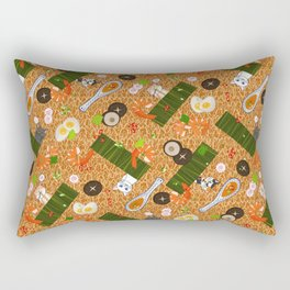 Japanese Ramen Noodles Pattern with Beckoning Cat Rectangular Pillow
