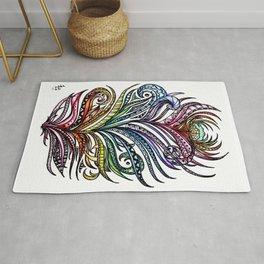 Ornate Rainbow Zentangle Feather Rug