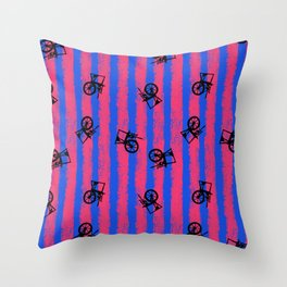 pink no blue bounding spinning wheel stripes 2 Throw Pillow