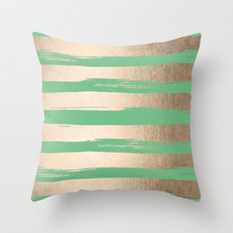 Painted Stripes Gold Tropical Green Throw Pillow