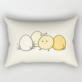 Cute Kawaii Easter Chick and Eggs Rectangular Pillow