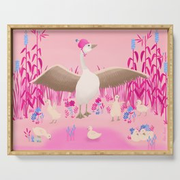 Mommy goose and her little goslings Serving Tray