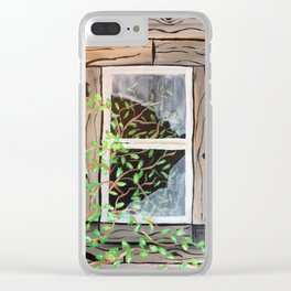 Old cabin window Clear iPhone Case