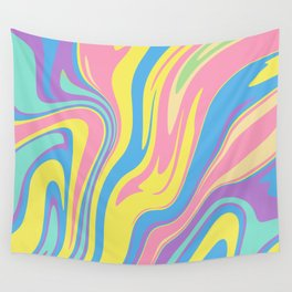 Bold Holographic Color Swirls Wall Tapestry