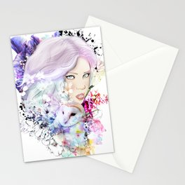 Green hair Stationery Cards
