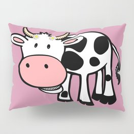 Smiling Cow with Daisies Pillow Sham