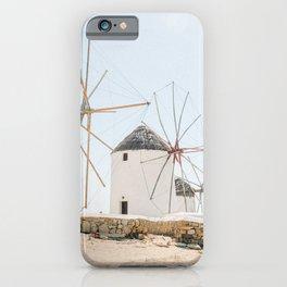 Famous White Mykonos Windmills in Greece iPhone Case