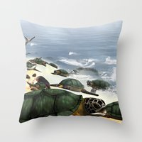 turtles Throw Pillows featuring Turtles by nicky2342